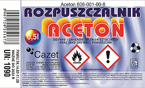 ROZPUSZCZALNIK ACETON PKWiU 24.14.62-11.00